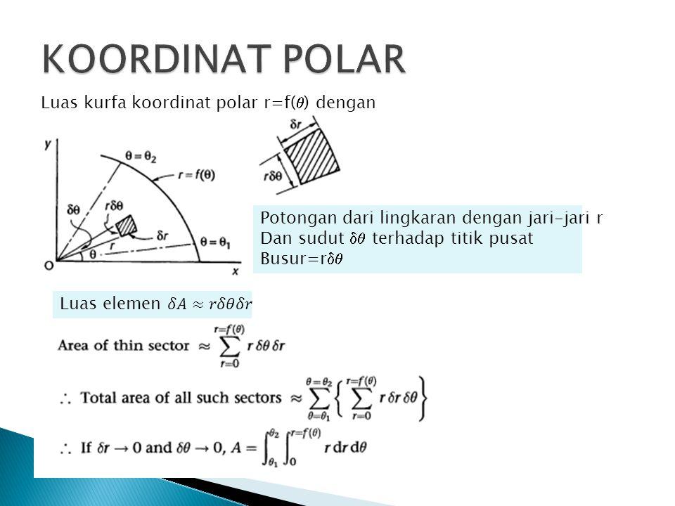 KOORDINAT POLAR Luas kurfa koordinat polar r=f() dengan