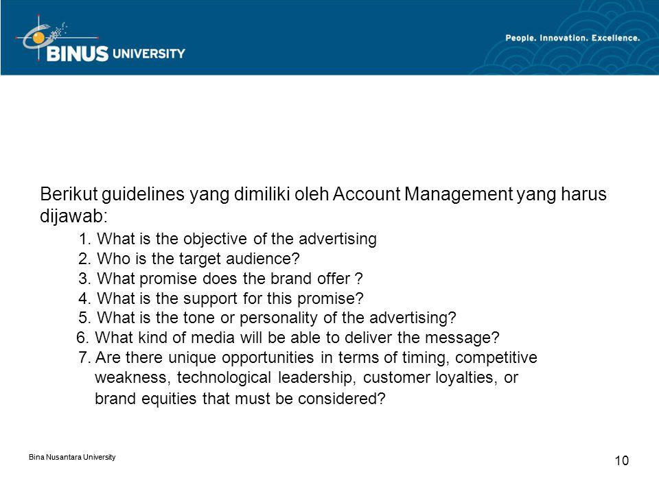 Berikut guidelines yang dimiliki oleh Account Management yang harus