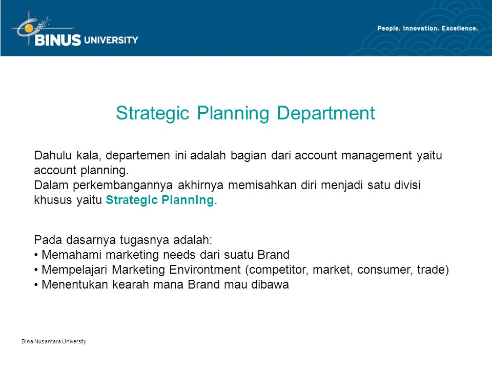 Strategic Planning Department