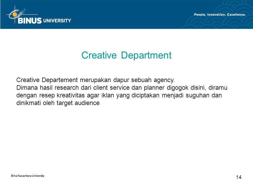 Creative Department Creative Departement merupakan dapur sebuah agency.