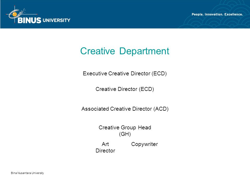 Creative Department Executive Creative Director (ECD)
