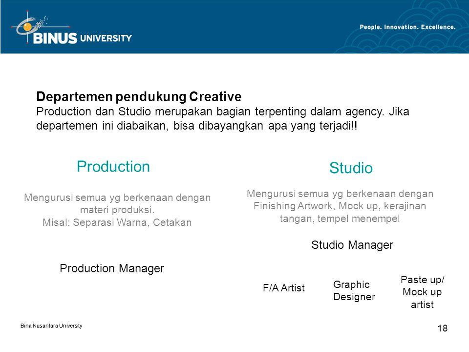 Production Studio Departemen pendukung Creative
