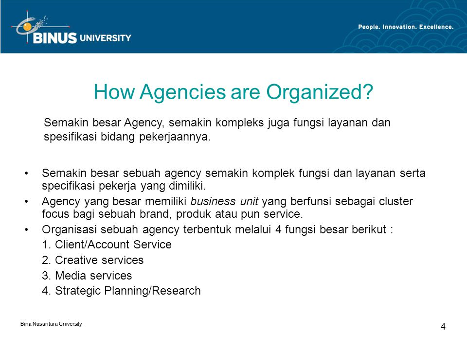 How Agencies are Organized