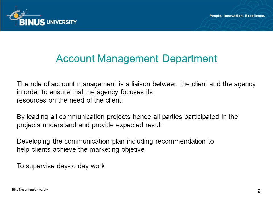 Account Management Department