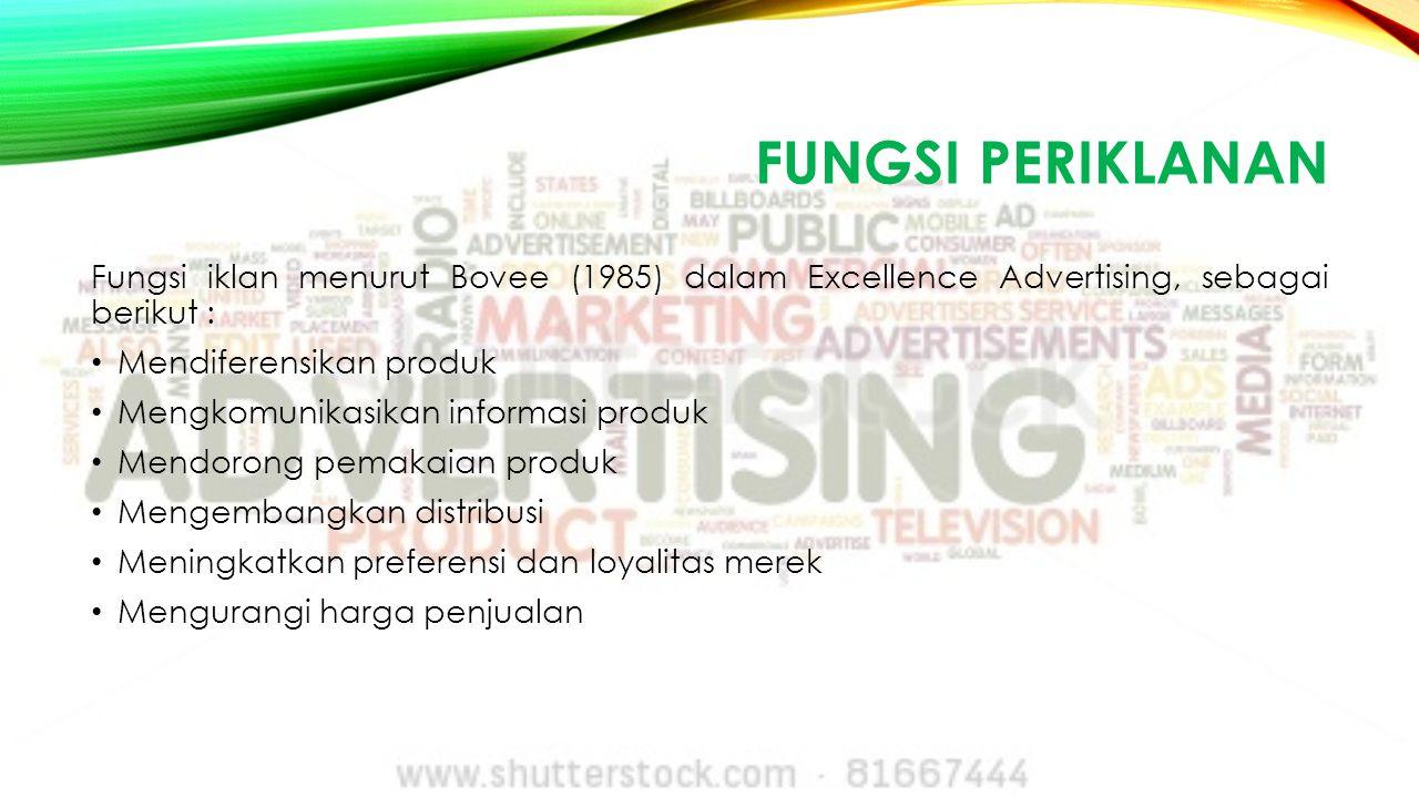 Fungsi periklanan Fungsi iklan menurut Bovee (1985) dalam Excellence Advertising, sebagai berikut :