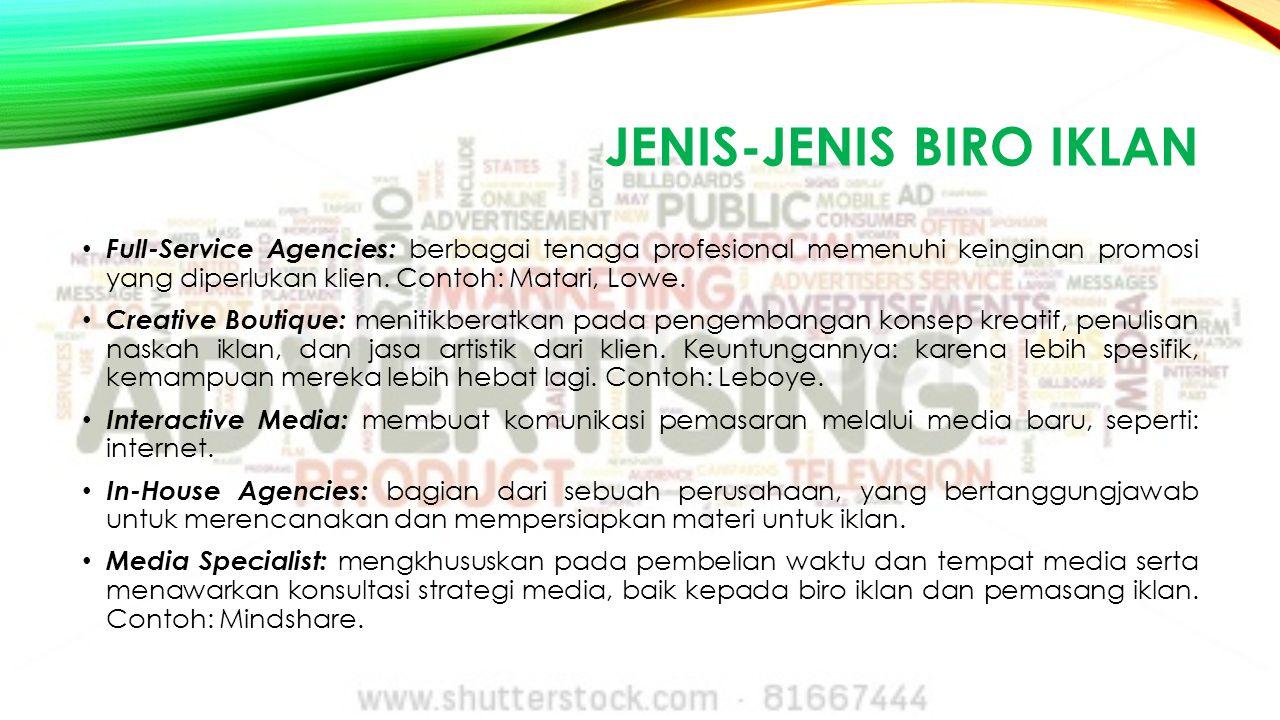 JENIS-JENIS BIRO IKLAN