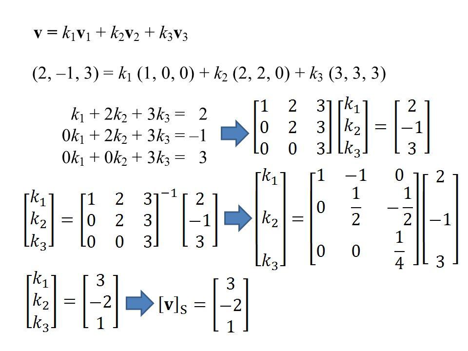 v = k1v1 + k2v2 + k3v3 (2, –1, 3) = k1 (1, 0, 0) + k2 (2, 2, 0) + k3 (3, 3, 3) k1 + 2k2 + 3k3 = 2.