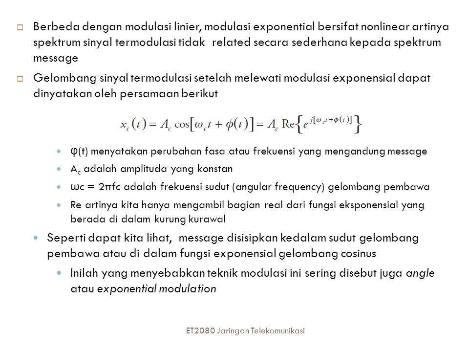 Berbeda dengan modulasi linier, modulasi exponential bersifat nonlinear artinya spektrum sinyal termodulasi tidak related secara sederhana kepada spektrum message