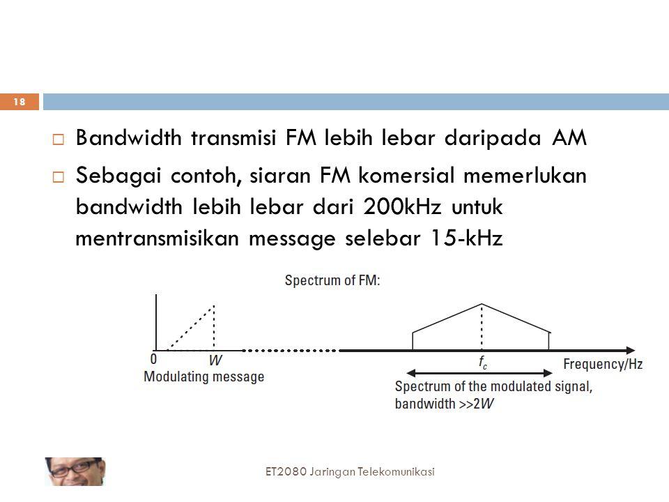 Bandwidth transmisi FM lebih lebar daripada AM