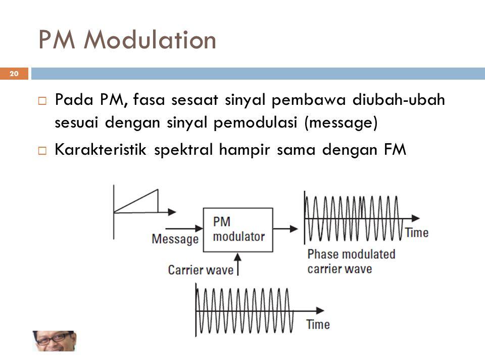 PM Modulation Pada PM, fasa sesaat sinyal pembawa diubah-ubah sesuai dengan sinyal pemodulasi (message)
