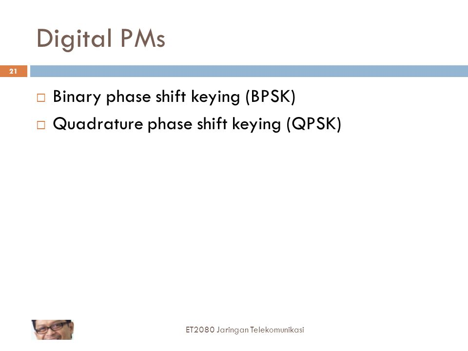 Digital PMs Binary phase shift keying (BPSK)
