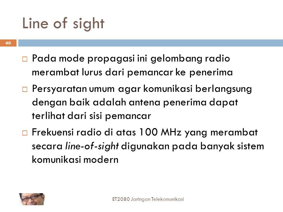 Line of sight Pada mode propagasi ini gelombang radio merambat lurus dari pemancar ke penerima.