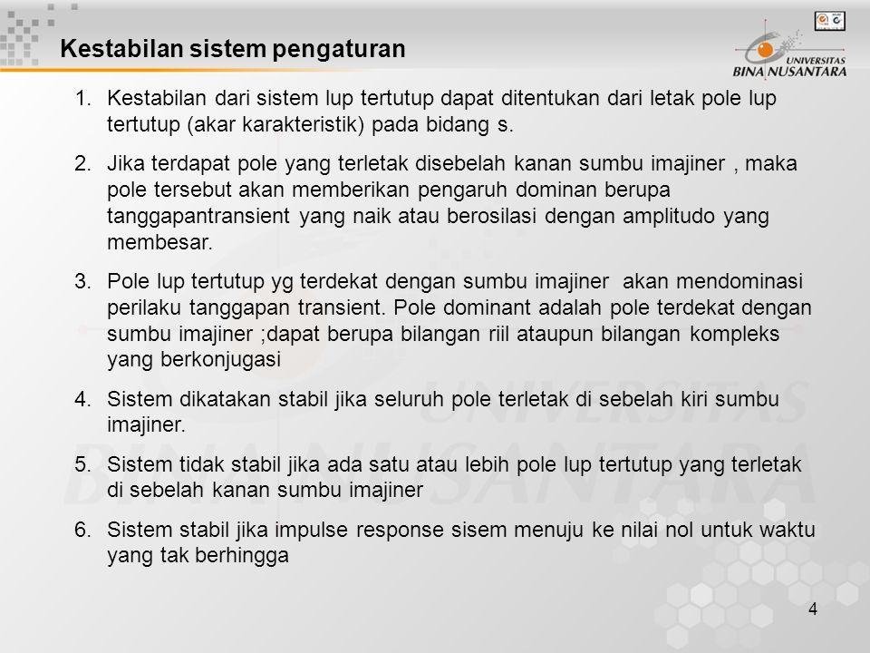Kestabilan sistem pengaturan