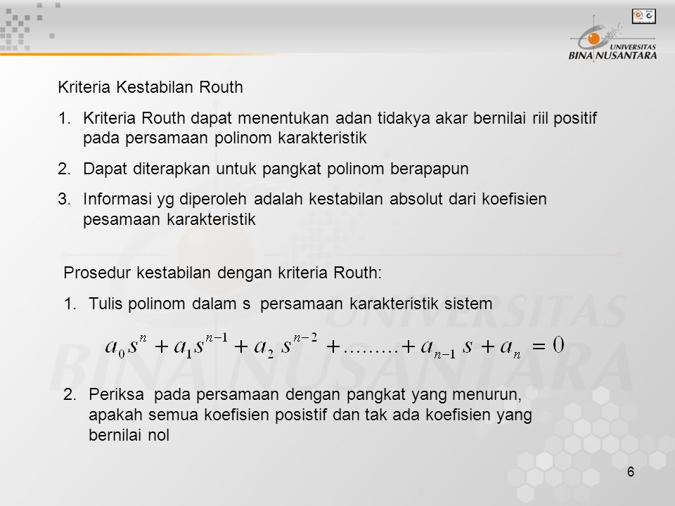 Kriteria Kestabilan Routh