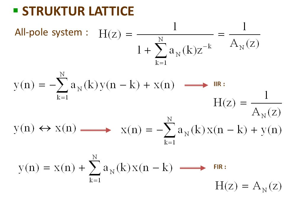 STRUKTUR LATTICE All-pole system : IIR : FIR :