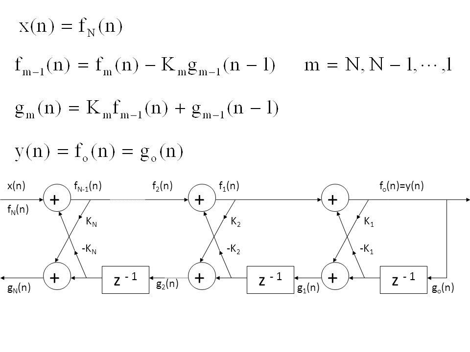 z - 1 z - 1 z - 1 + x(n) gN(n) KN fN(n) fN-1(n) -KN + g2(n) K2 f2(n)