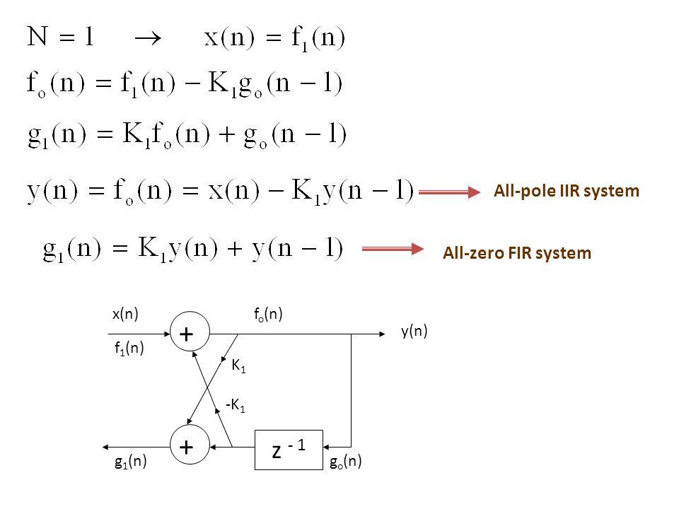 z - 1 All-pole IIR system All-zero FIR system go(n) + K1 fo(n) -K1