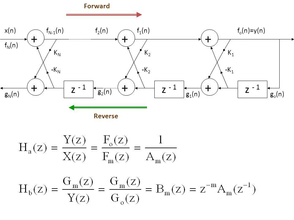 z - 1 Forward + x(n) gN(n) KN fN(n) fN-1(n) -KN g2(n) K2 f2(n) f1(n)