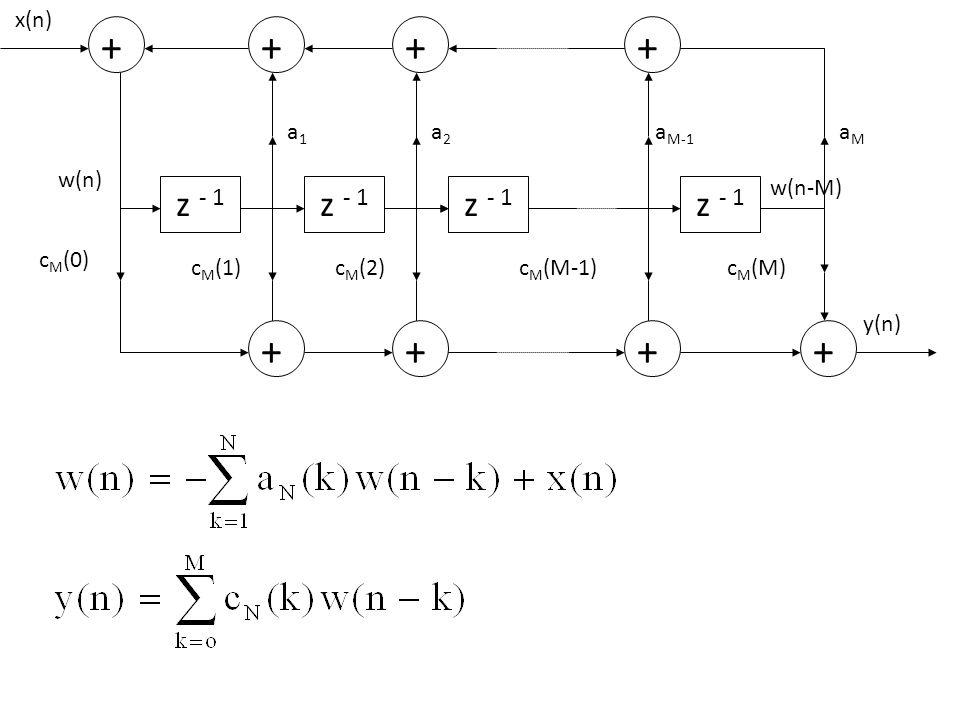 z - 1 + cM(0) x(n) w(n) cM(1) cM(2) cM(M-1) cM(M) a1 a2 aM-1 aM y(n)