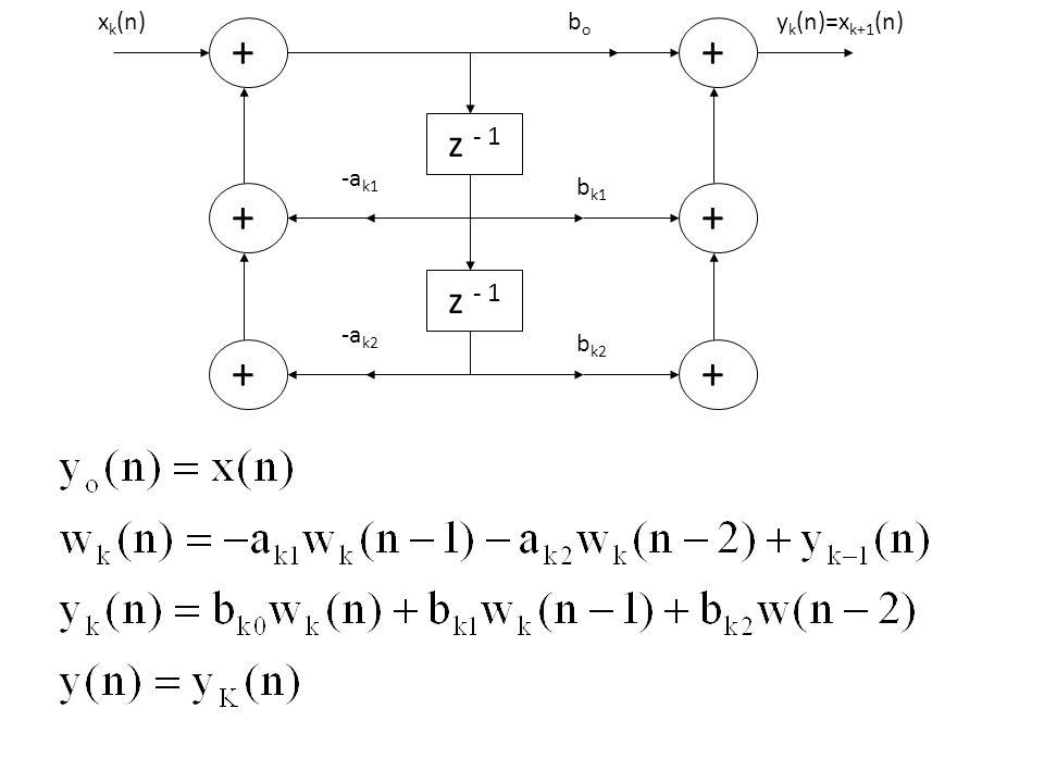 yk(n)=xk+1(n) bk1 bo bk2 + z - 1 -ak1 -ak2 xk(n)