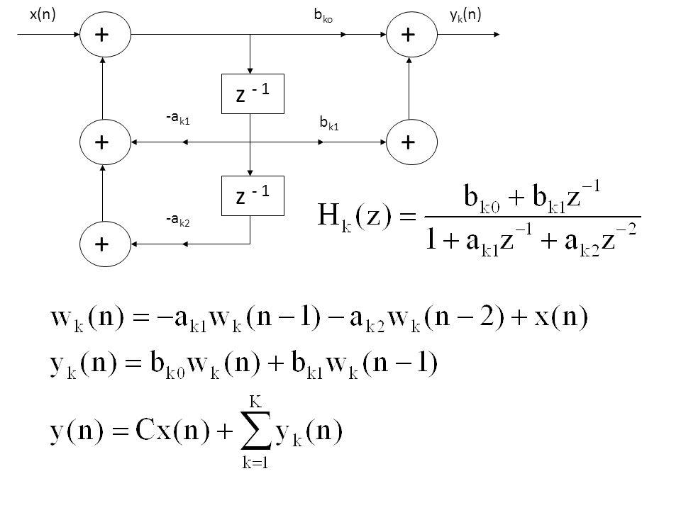 yk(n) bk1 bko + z - 1 -ak1 -ak2 x(n)
