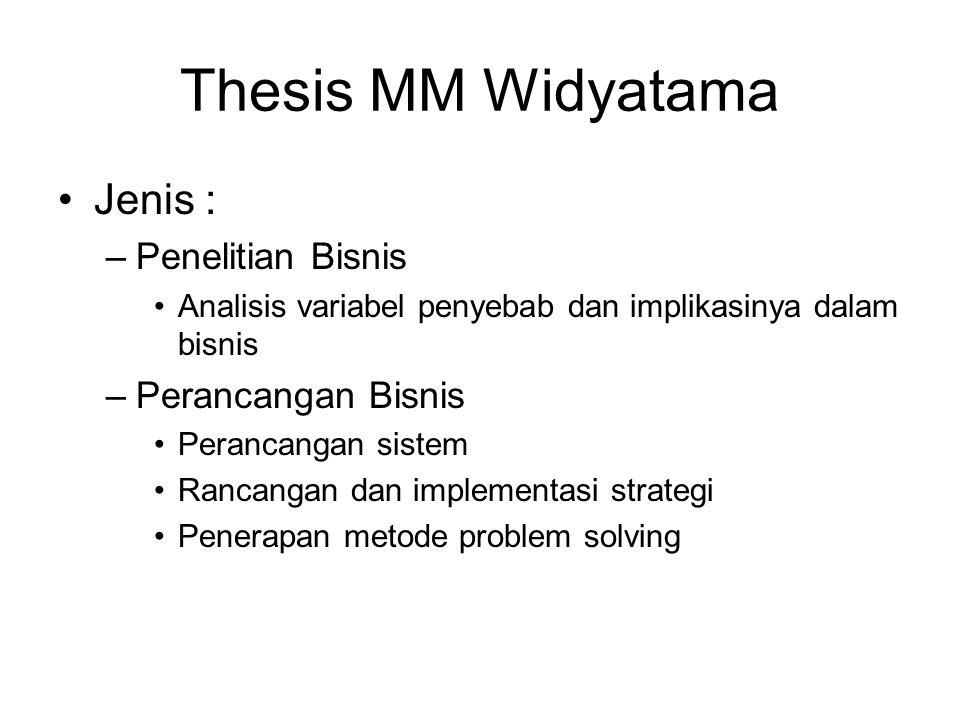 Thesis MM Widyatama Jenis : Penelitian Bisnis Perancangan Bisnis
