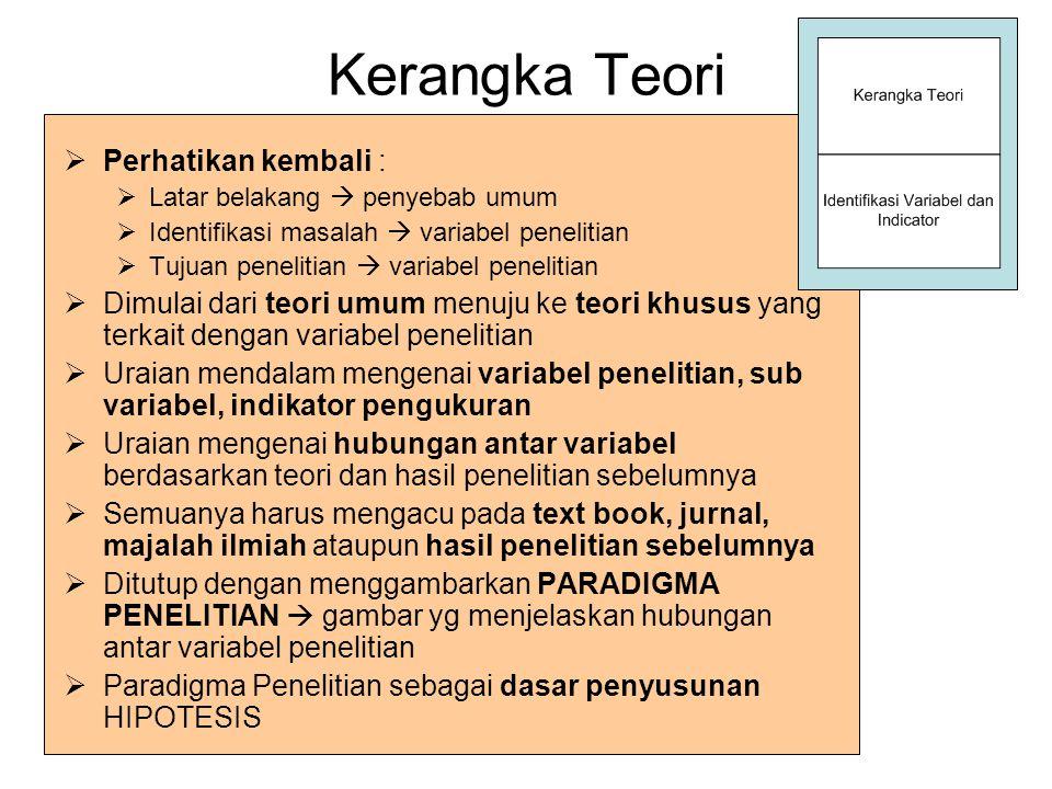 Kerangka Teori Perhatikan kembali :