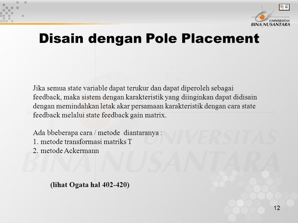 Disain dengan Pole Placement
