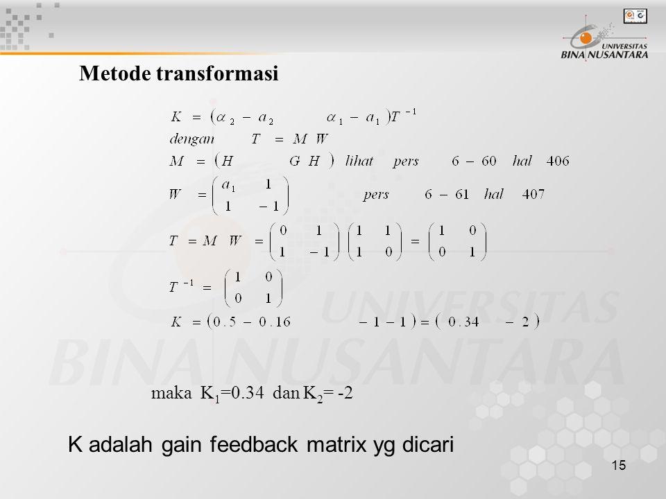 K adalah gain feedback matrix yg dicari