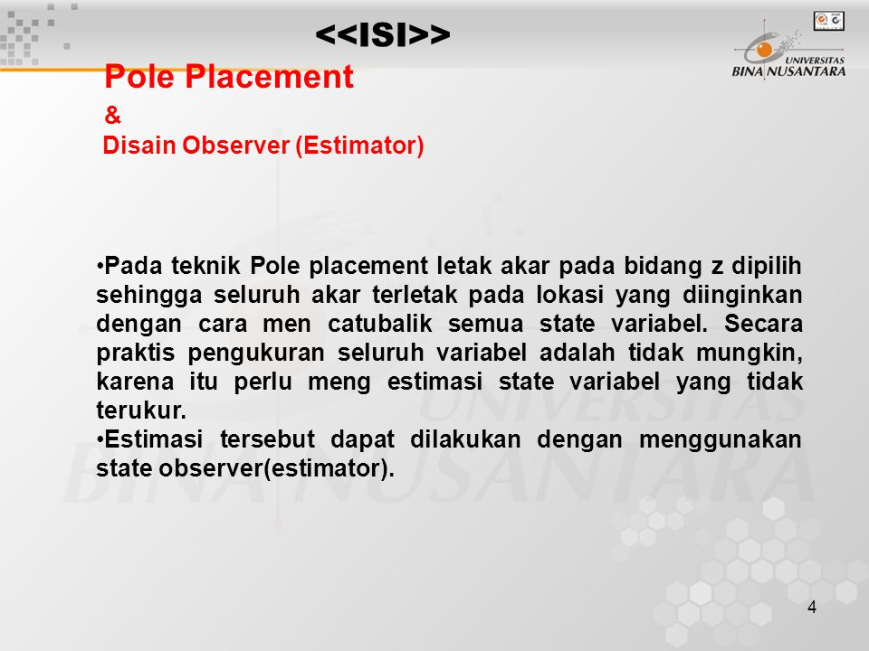 <<ISI>> Pole Placement & Disain Observer (Estimator)