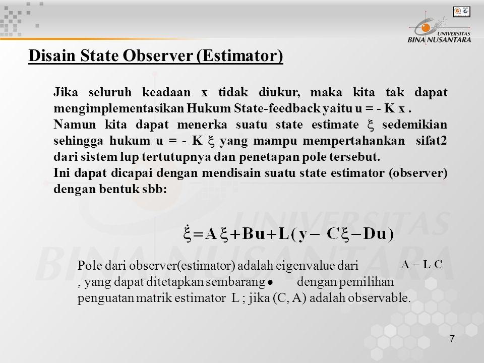 Disain State Observer (Estimator)