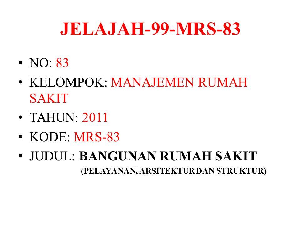 JELAJAH-99-MRS-83 NO: 83 KELOMPOK: MANAJEMEN RUMAH SAKIT TAHUN: 2011