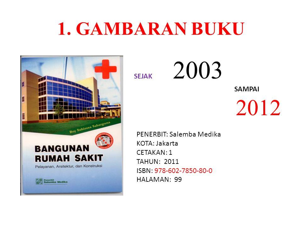 2012 1. GAMBARAN BUKU SEJAK 2003 SAMPAI PENERBIT: Salemba Medika