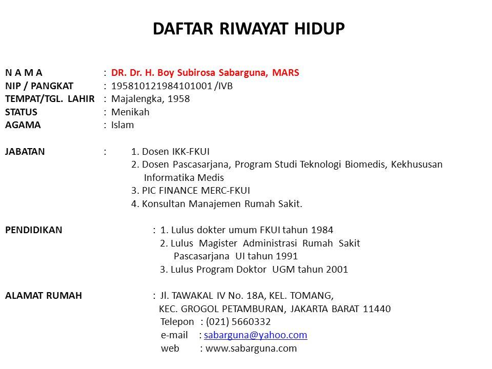 DAFTAR RIWAYAT HIDUP N A M A : DR. Dr. H. Boy Subirosa Sabarguna, MARS
