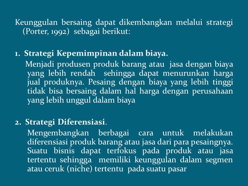 Keunggulan bersaing dapat dikembangkan melalui strategi (Porter, 1992) sebagai berikut:
