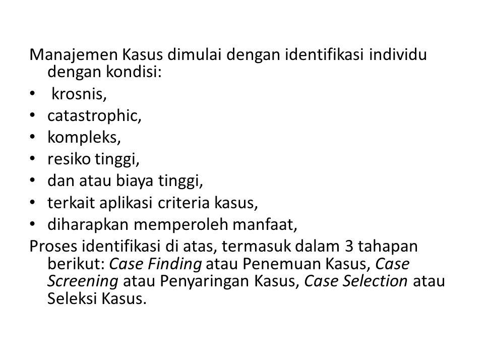 Manajemen Kasus dimulai dengan identifikasi individu dengan kondisi: