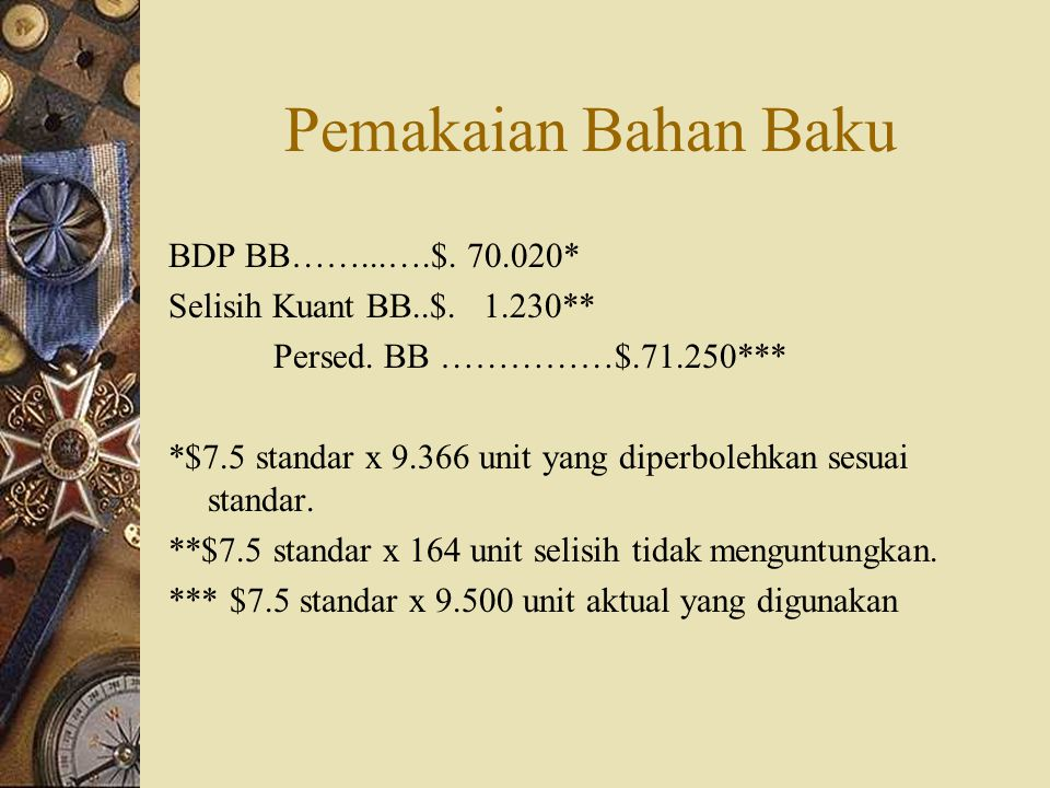 Pemakaian Bahan Baku BDP BB……...….$. 70.020*