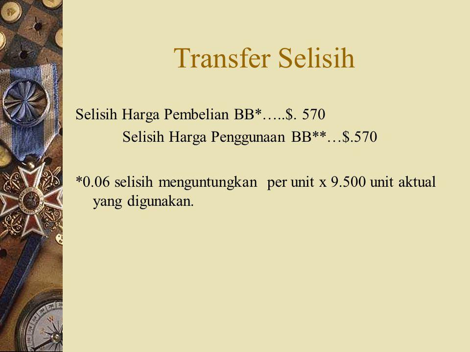 Transfer Selisih Selisih Harga Pembelian BB*…..$. 570