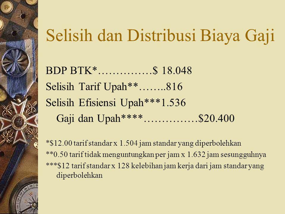 Selisih dan Distribusi Biaya Gaji