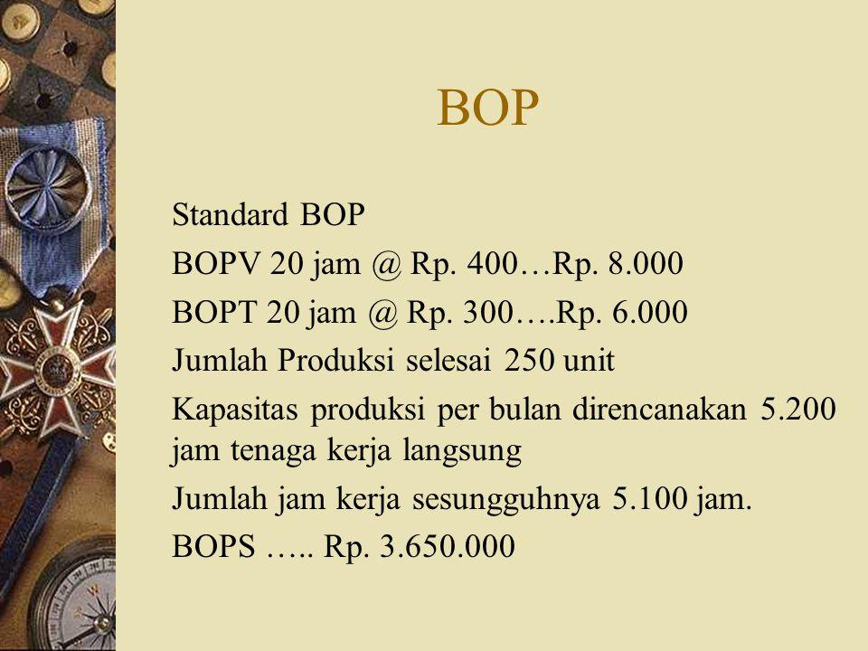 BOP Standard BOP BOPV 20 jam @ Rp. 400…Rp. 8.000