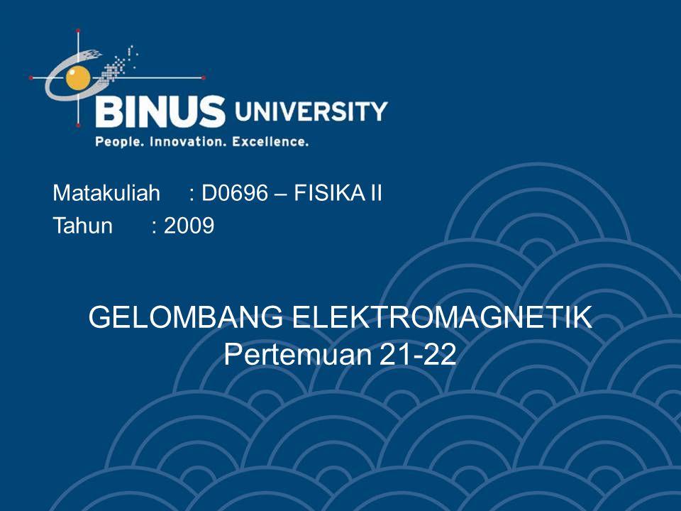GELOMBANG ELEKTROMAGNETIK Pertemuan 21-22