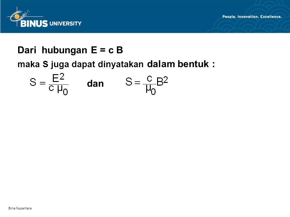 Dari hubungan E = c B dan maka S juga dapat dinyatakan dalam bentuk :