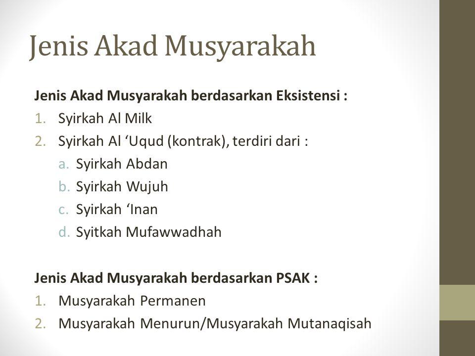 Jenis Akad Musyarakah Jenis Akad Musyarakah berdasarkan Eksistensi :