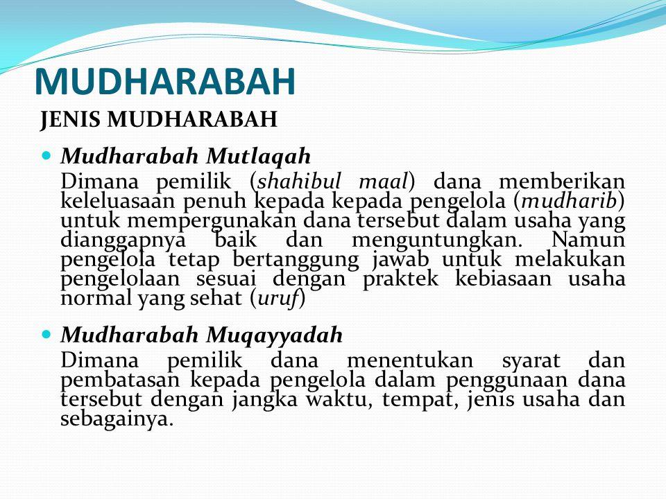 MUDHARABAH JENIS MUDHARABAH Mudharabah Mutlaqah