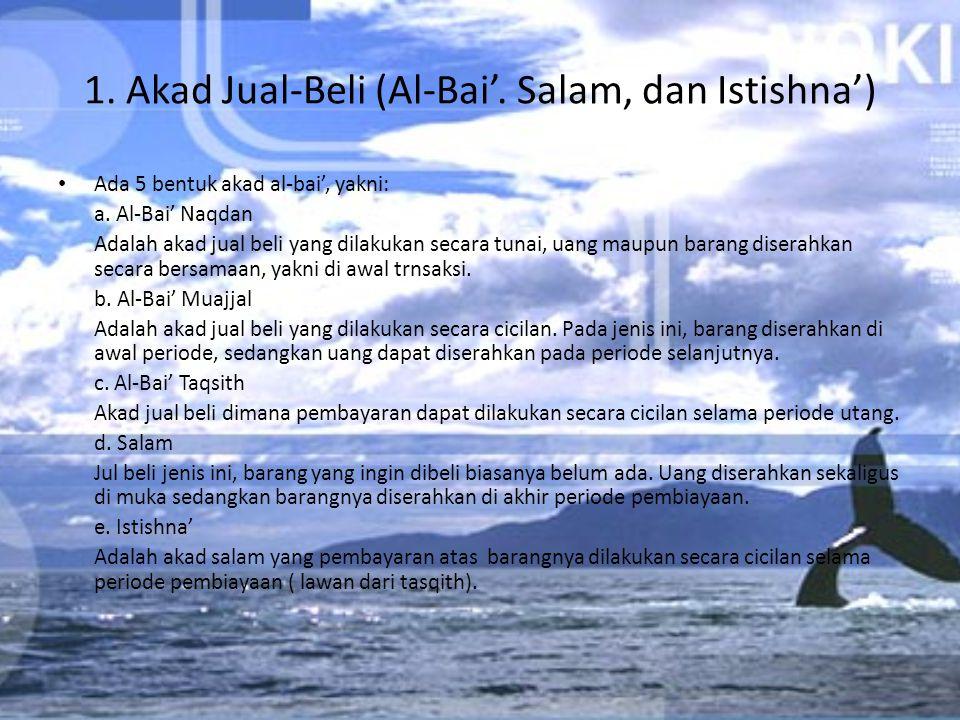 1. Akad Jual-Beli (Al-Bai'. Salam, dan Istishna')