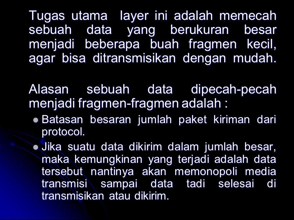 Alasan sebuah data dipecah-pecah menjadi fragmen-fragmen adalah :