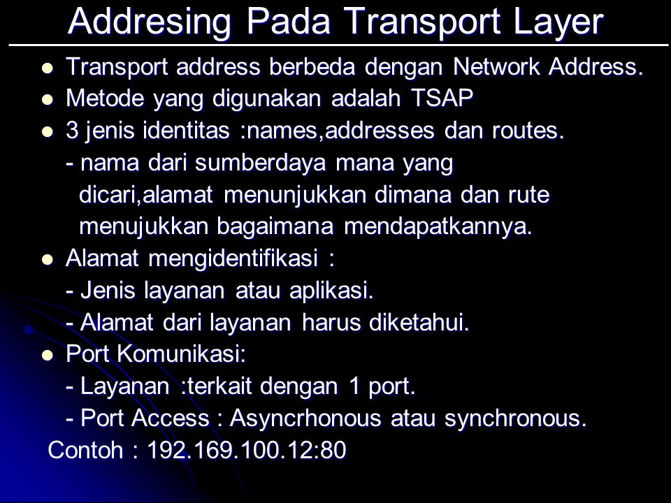 Addresing Pada Transport Layer