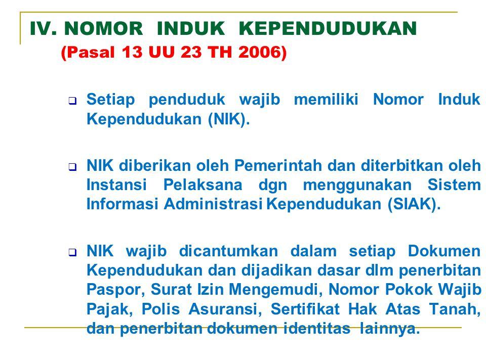 IV. NOMOR INDUK KEPENDUDUKAN (Pasal 13 UU 23 TH 2006)