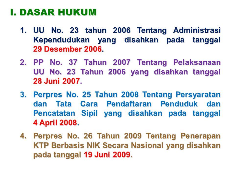 I. DASAR HUKUM UU No. 23 tahun 2006 Tentang Administrasi Kependudukan yang disahkan pada tanggal 29 Desember 2006.