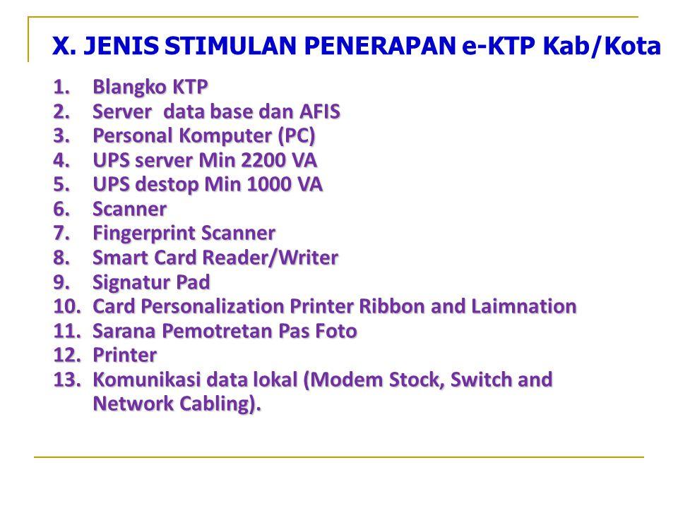 X. JENIS STIMULAN PENERAPAN e-KTP Kab/Kota
